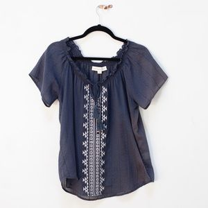 Lovestitch Embroidered Peasant Top